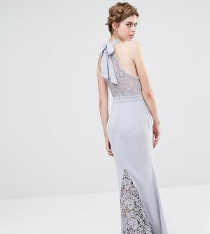 Jarlo Свадебное кружевное платье макси с высокой горловиной и бантом сзади J. Цвет: серый