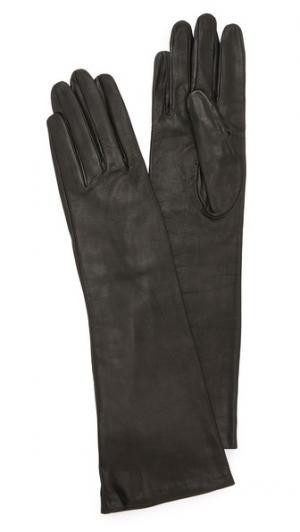 Длинные кожаные перчатки Carolina Amato. Цвет: голубой