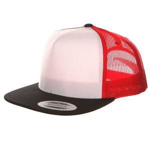 Бейсболка с сеткой  6005FW Black/White/Red Flexfit. Цвет: белый,черный,красный