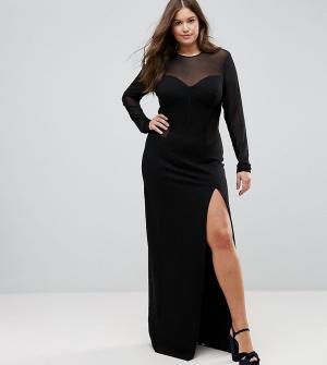 Taller Than Your Average Облегающее платье макси с сетчатой вставкой TTYA BLACK Plus. Цвет: черный