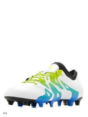 Футбольные бутсы (для мягк.п.) муж. X 15.1 FG/AG Adidas. Цвет: белый