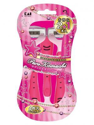 Бритва безопасная женская одноразовая Pure Komachi 4 лезвия Kai. Цвет: розовый