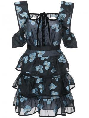 Платье с цветочным принтом Self-Portrait. Цвет: чёрный