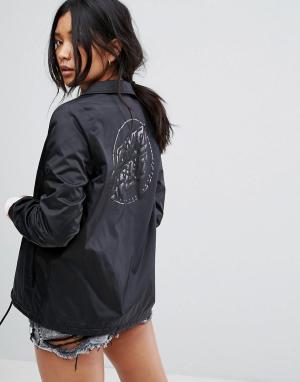Santa Cruz Спортивная куртка с принтом логотипа на спине. Цвет: черный
