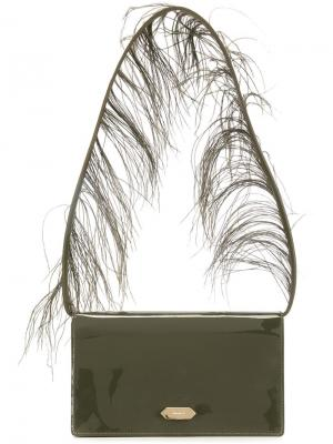 Сумка на плечо с перьями Nina Ricci. Цвет: зелёный