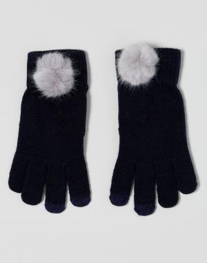 7X Перчатки из искусственного меха для сенсорного экрана. Цвет: темно-синий