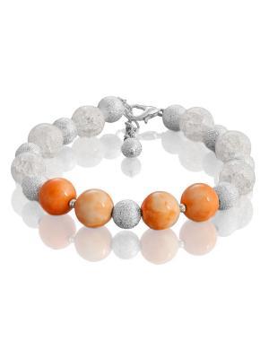 Браслет с яшмой и снежным кварцем L'ATTRICE. Цвет: прозрачный, оранжевый