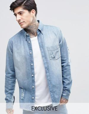 Brooklyn Supply Co. Умеренно выбеленная рубашка с прорехами Co. Цвет: синий