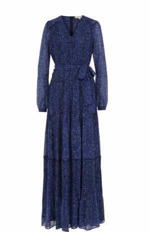 Приталенное платье-макси с поясом MICHAEL Kors. Цвет: синий