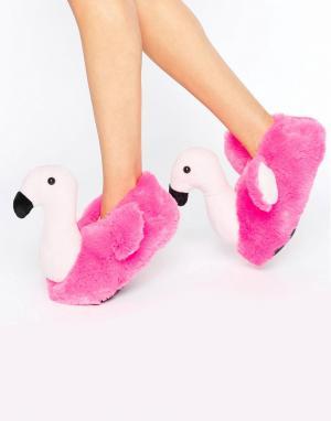 Loungeable Слиперы с дизайном фламинго. Цвет: розовый