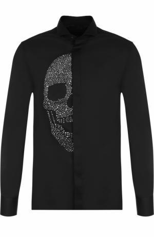 Хлопковая рубашка с отделкой Philipp Plein. Цвет: черный
