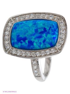 Кольцо JV ДЖЕЙ ВИ. Цвет: серебристый, синий