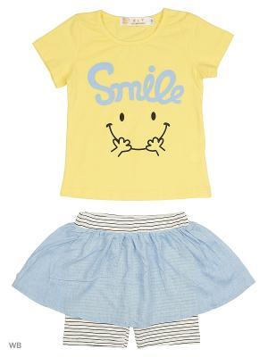 Юбка-шорты, футболка HLT. Цвет: желтый, белый, голубой