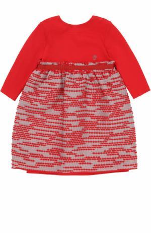 Мини-платье джерси с завышенной талией и декором на юбке I Pinco Pallino. Цвет: красный