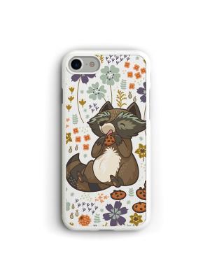 Чехол для iPhone 7/8 Енот Boom Case. Цвет: терракотовый, белый, серебристый