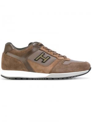 Кроссовки с панельным дизайном Hogan. Цвет: коричневый