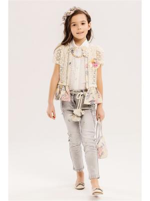 Комплект детский: блузка, туника, джинсы, ободок, галстук, сумочка Baby Steen. Цвет: светло-серый, бежевый, розовый
