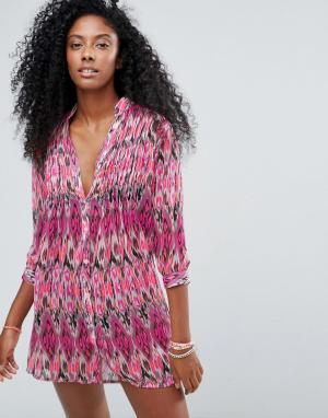 Anmol Пляжное платье-рубашка с абстрактным принтом. Цвет: красный