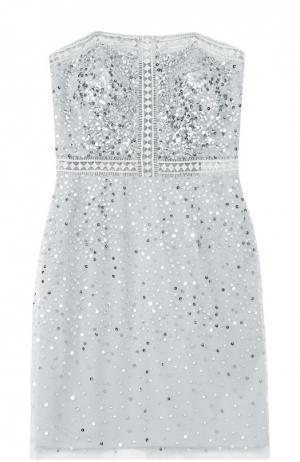 Платье-бюстье с пайетками и перфорацией Basix Black Label. Цвет: серебряный