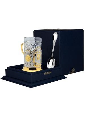 Набор для чая Юбилейный 50 (подстаканник+стакан+серебряная ложка)+футляр АргентА. Цвет: серебристый, золотистый