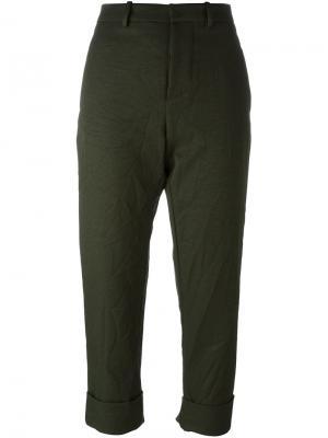 Укороченные брюки с отворотами Marni. Цвет: зелёный