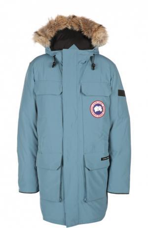Пуховая парка Citadel с меховой отделкой капюшона Canada Goose. Цвет: голубой