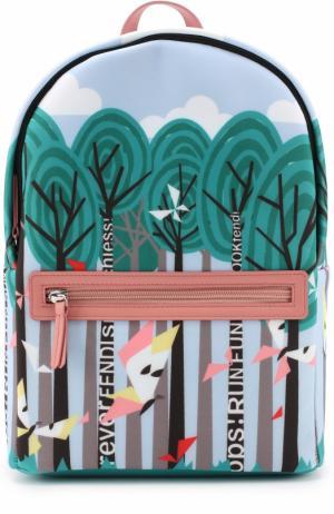 Текстильный рюкзак с принтом Fendi Roma. Цвет: разноцветный