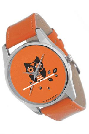 Часы Сова MITYA VESELKOV. Цвет: черный, оранжевый