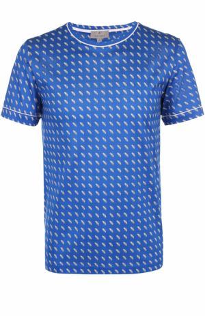 Хлопковая футболка с принтом Canali. Цвет: синий