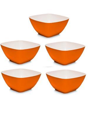 Комплект салатник Премиум 0.7л квадратная -5 шт. Полимербыт. Цвет: оранжевый