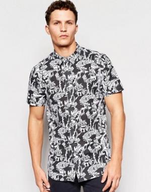 Afends Рубашка с короткими рукавами и принтом. Цвет: черный