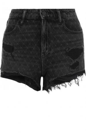 Джинсовые шорты с потертостями Denim X Alexander Wang. Цвет: серый