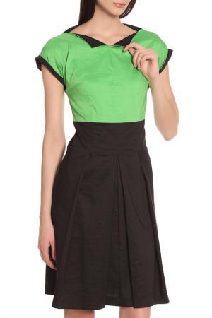 Повседневное платье с коротким рукавом Oblique. Цвет: черный-зеленый
