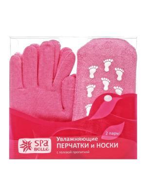 Комплект увлажняющие гелевые перчатки и носки Spa belle. Цвет: розовый