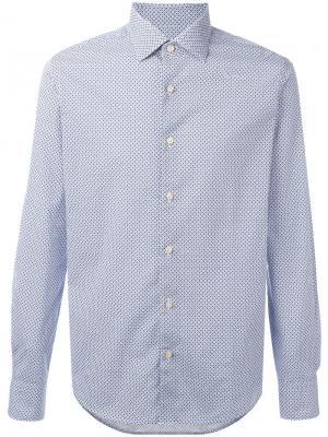 Рубашка с геометрическим узором Xacus. Цвет: синий