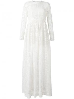 Кружевное платье Philosophy Di Lorenzo Serafini. Цвет: белый
