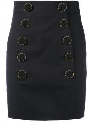 Короткая юбка на пуговицах Dolce & Gabbana. Цвет: синий