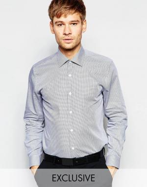 Number Eight Savile Row Рубашка скинни в клеточку с заостренным воротником. Цвет: черный