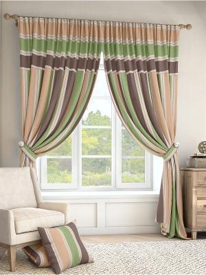 Комплект штор Ален ТОМДОМ. Цвет: бежевый, зеленый, коричневый