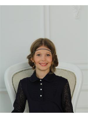 Блузка Гипюр-Трикотаж Красавушка. Цвет: синий