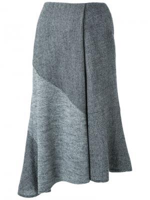 Расклешенная асимметричная юбка Fad Three. Цвет: серый