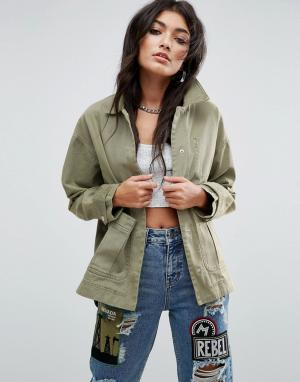 ASOS Выбеленная куртка. Цвет: зеленый