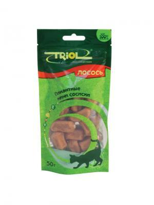 Пикантные мини сосиски из лосося для кошек TRIOL. Цвет: коричневый