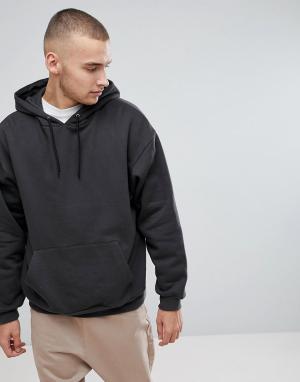 ASOS Выбеленное черное oversize-худи. Цвет: черный