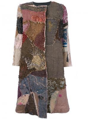 Окрашенное вручную пальто лоскутного кроя By Walid. Цвет: многоцветный