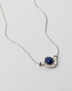 ASOS Ожерелье с цепочкой-змейкой и подвеской камнем DESIGN. Цвет: серебряный