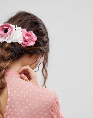 ASOS Заколка для волос с цветочной отделкой DESIGN. Цвет: мульти