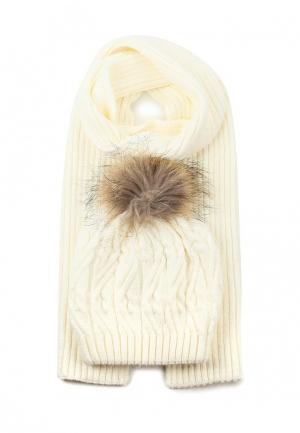 Комплект шапка и шарф Ferz. Цвет: белый