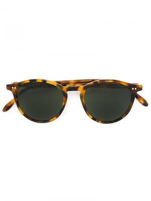 Солнцезащитные очки в круглой оправе Pantos Paris. Цвет: коричневый