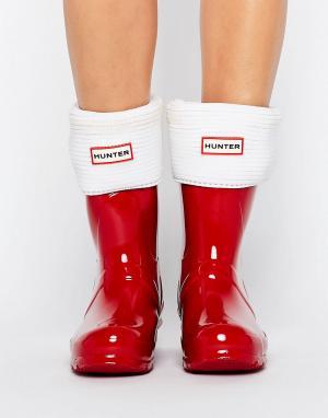 Hunter Толстые носки с манжетами. Цвет: кремовый